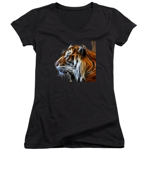 Tiger Fractal Women's V-Neck T-Shirt (Junior Cut) by Shane Bechler
