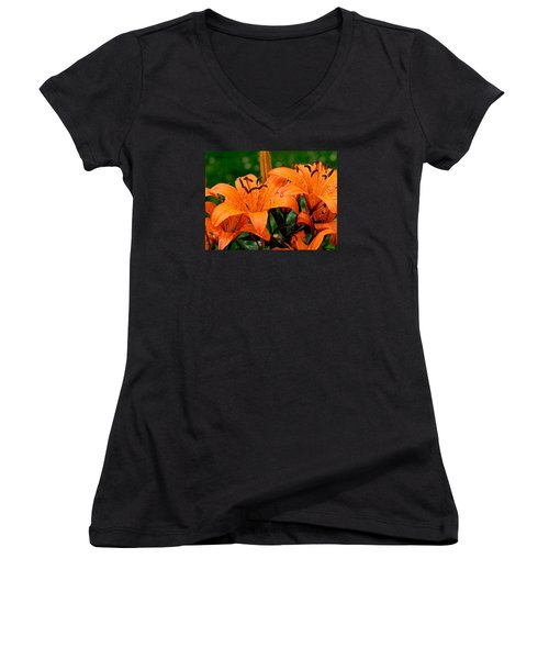 Tiger Lilies With Spring Shower Women's V-Neck (Athletic Fit)