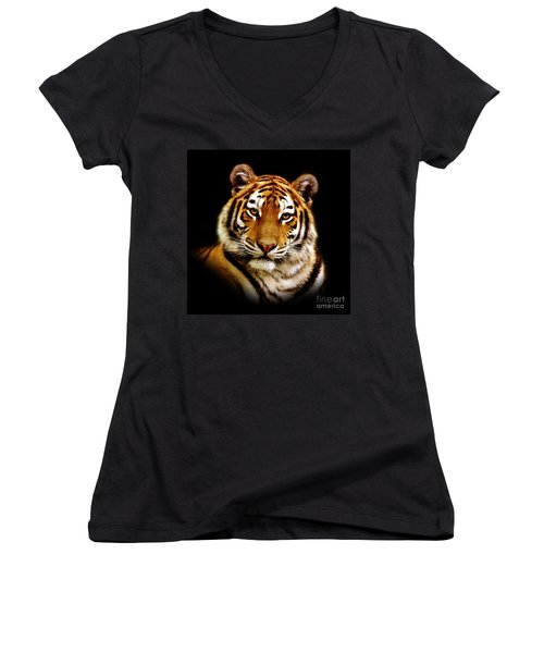 Tiger Women's V-Neck T-Shirt (Junior Cut) by Jacky Gerritsen