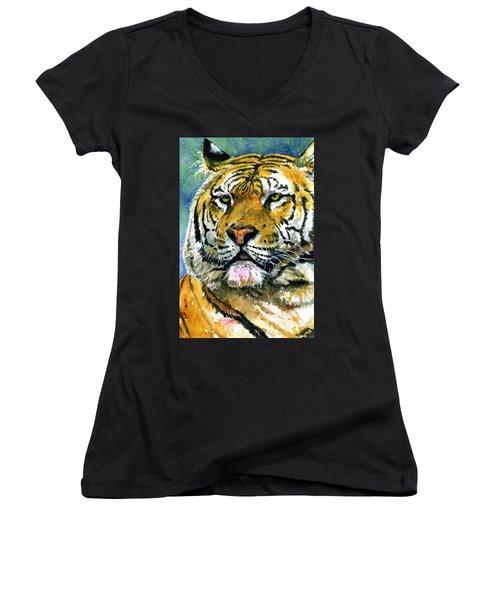 Tiger Portrait Women's V-Neck T-Shirt (Junior Cut) by John D Benson