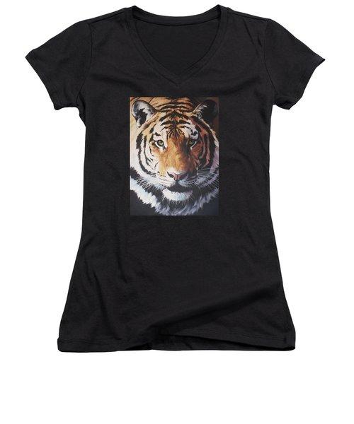 Tiger Portrait Women's V-Neck T-Shirt (Junior Cut) by Vivien Rhyan