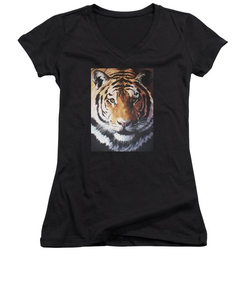 Tiger Portrait Women's V-Neck (Athletic Fit)