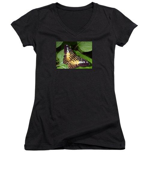 Tiger Print --- Clipper Butterfly Women's V-Neck T-Shirt