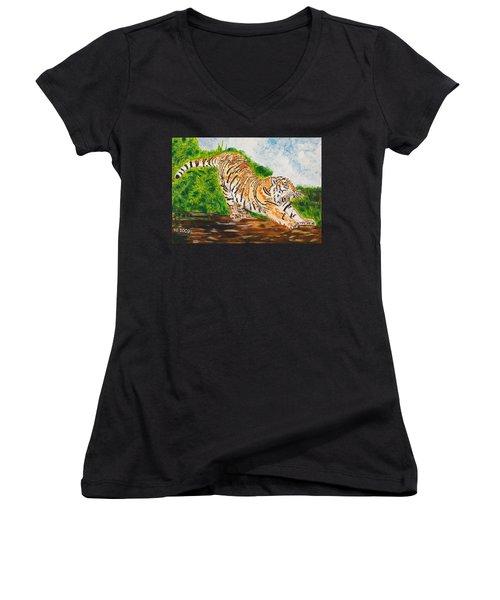 Tiger Stretching Women's V-Neck T-Shirt (Junior Cut) by Valerie Ornstein