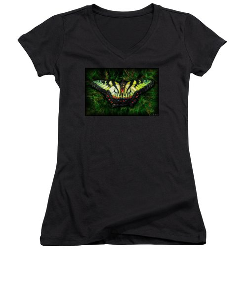 Women's V-Neck T-Shirt (Junior Cut) featuring the photograph Tiger Swallowtail by Iowan Stone-Flowers
