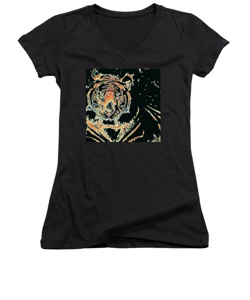 Tiger Tiger Women's V-Neck T-Shirt (Junior Cut) by Stephanie Grant