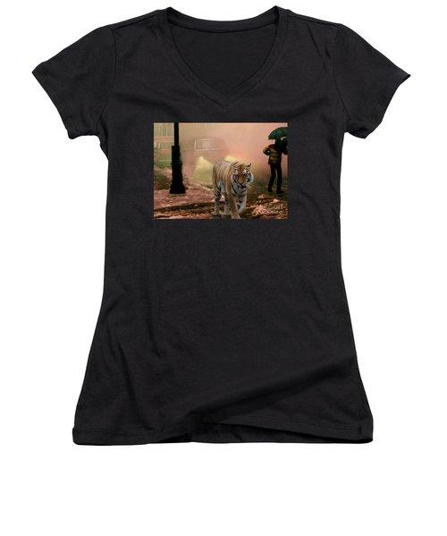 Tiger Walking Down A Snow Slushy Street Women's V-Neck T-Shirt (Junior Cut) by Wernher Krutein