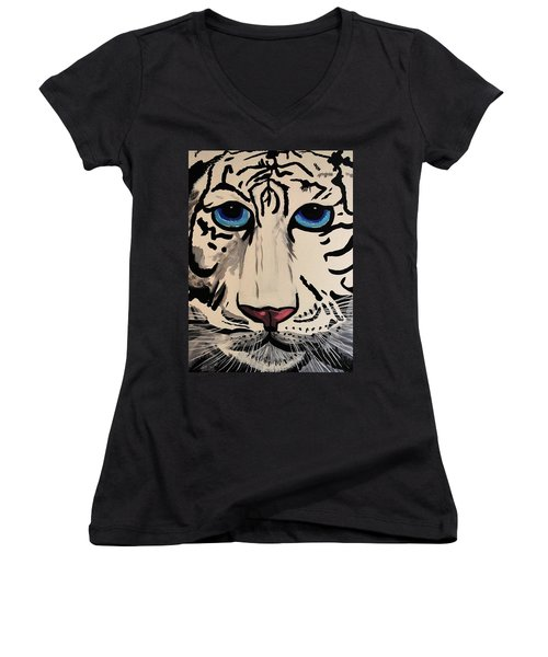 Tigger Women's V-Neck T-Shirt (Junior Cut) by Nora Shepley