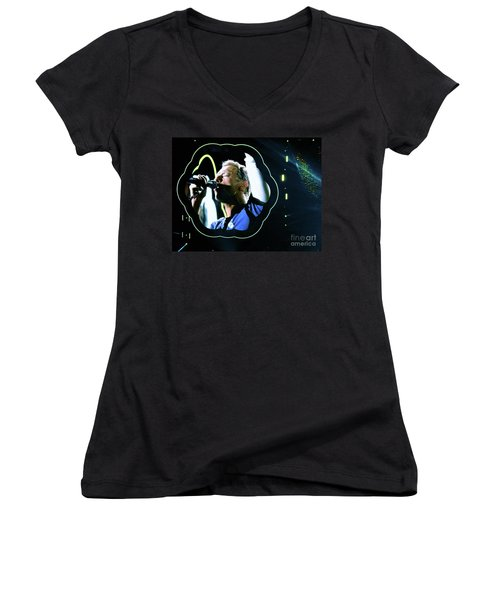 Chris Martin - A Head Full Of Dreams Tour 2016  Women's V-Neck T-Shirt (Junior Cut) by Tanya Filichkin