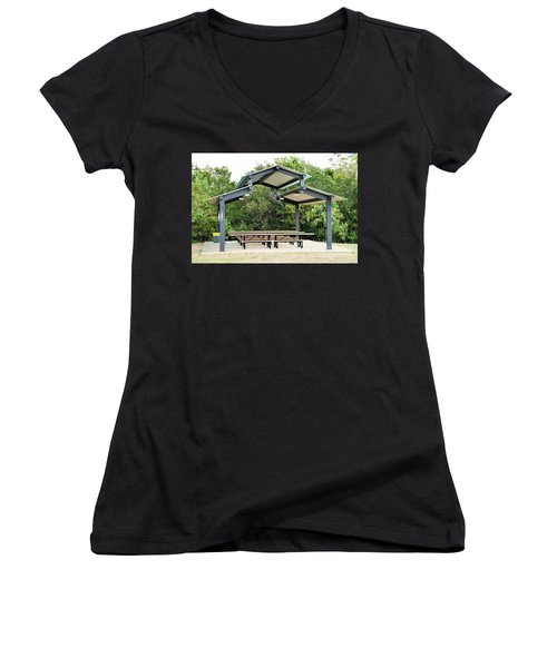Women's V-Neck T-Shirt (Junior Cut) featuring the photograph Time For Family ...  by Ray Shrewsberry