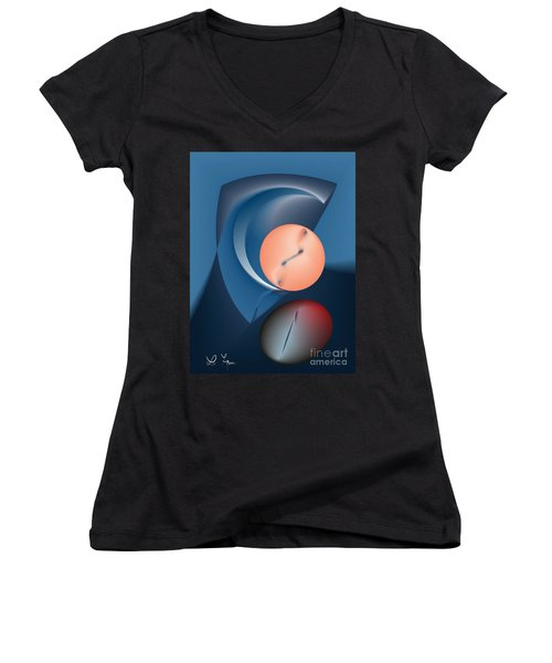Time Is A Peculiar Game Women's V-Neck T-Shirt (Junior Cut) by Leo Symon