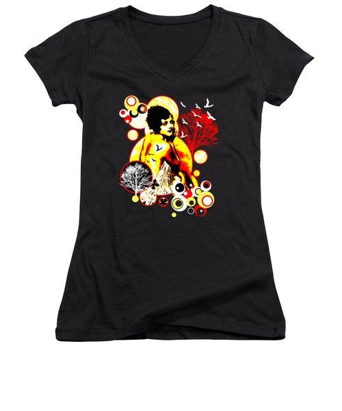 Timeless Flight Women's V-Neck T-Shirt (Junior Cut) by Chris Andruskiewicz