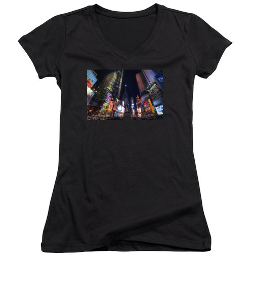 Times Square Moonlight Women's V-Neck (Athletic Fit)