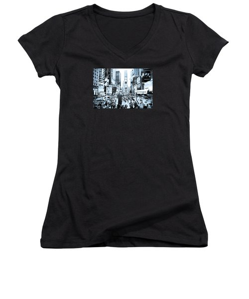 Times Square Women's V-Neck T-Shirt (Junior Cut) by Perry Van Munster