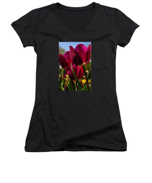 Women's V-Neck T-Shirt (Junior Cut) featuring the photograph Tip Toe Through The Tulips by Bruce Bley