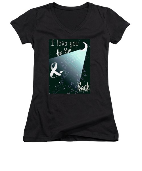 To The Moon And Back Women's V-Neck T-Shirt (Junior Cut) by D Renee Wilson