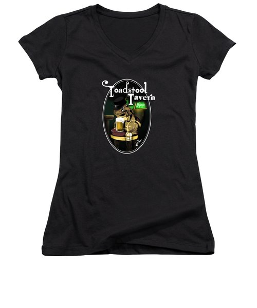 Toadstool Tavern  Women's V-Neck T-Shirt