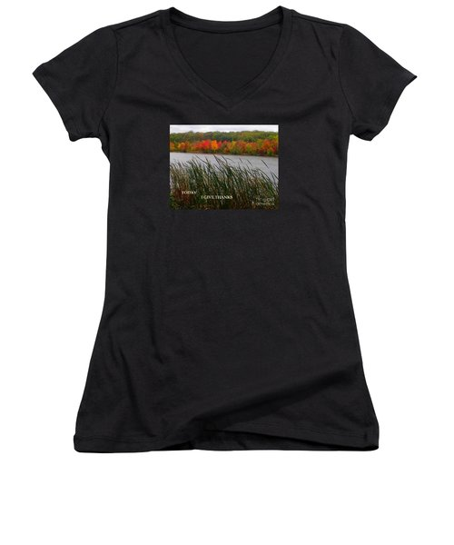 Women's V-Neck T-Shirt (Junior Cut) featuring the photograph Today I Give Thanks by Christina Verdgeline