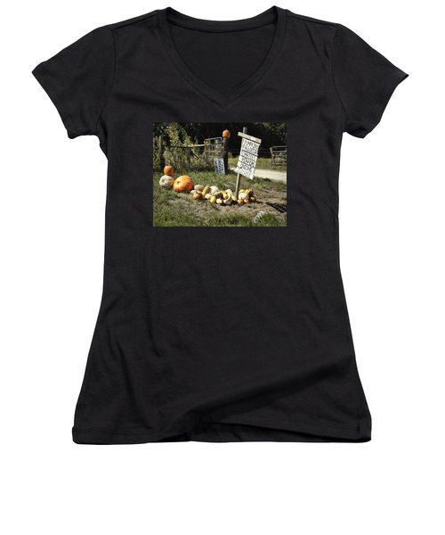 Women's V-Neck T-Shirt (Junior Cut) featuring the photograph Today's Harvest by Cricket Hackmann