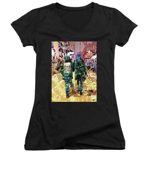 Women's V-Neck T-Shirt (Junior Cut) featuring the painting Together by Tony Rubino