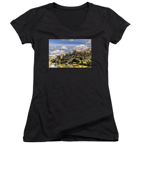 Toledo. Majestic Stone Fortress The Alcazar Is Visible From Any Part Of The City Women's V-Neck (Athletic Fit)