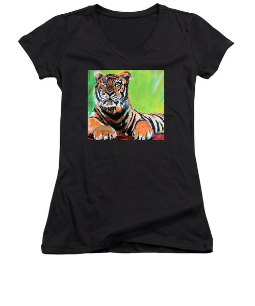 Tom Tiger Women's V-Neck T-Shirt (Junior Cut) by Tom Riggs