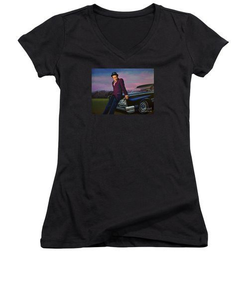 Tom Waits Women's V-Neck T-Shirt (Junior Cut) by Paul Meijering