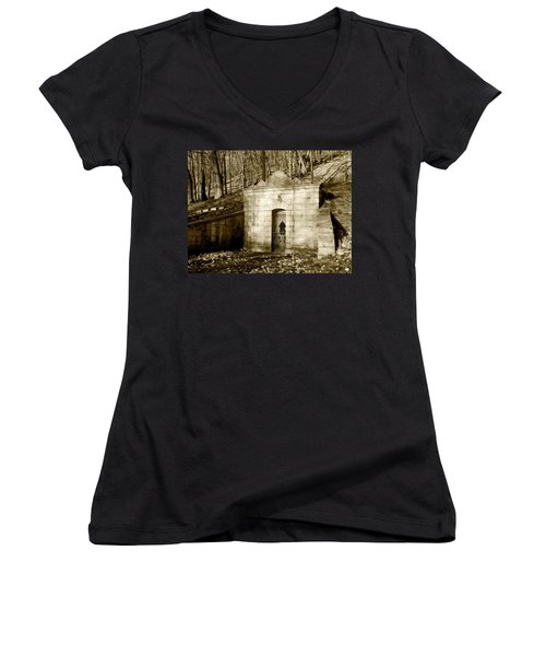 Tomb With A View In Sepia Women's V-Neck