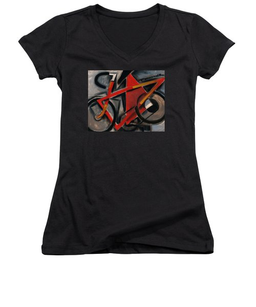 Tommervik Abstract Cubism Red Ten Speed Bike Art Print Women's V-Neck (Athletic Fit)