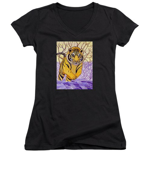 Tony Tiger Women's V-Neck T-Shirt (Junior Cut) by Joseph J Stevens