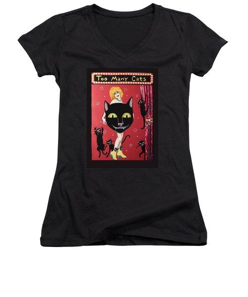Too Many Black Cats Women's V-Neck