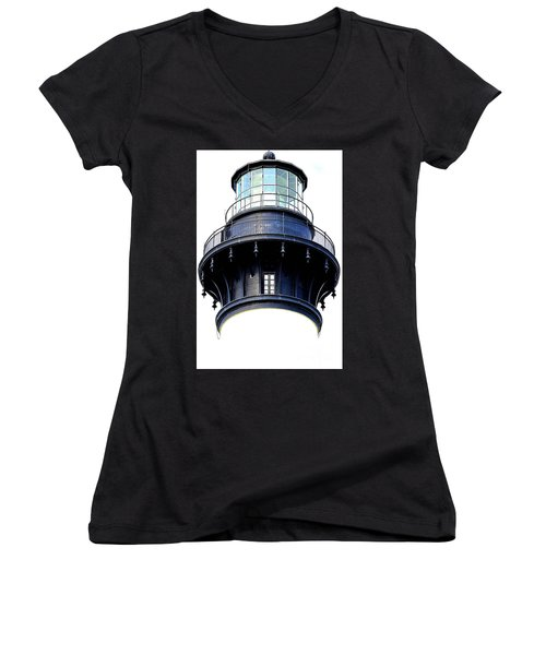Top Of The Lighthouse Women's V-Neck T-Shirt (Junior Cut) by Shelia Kempf
