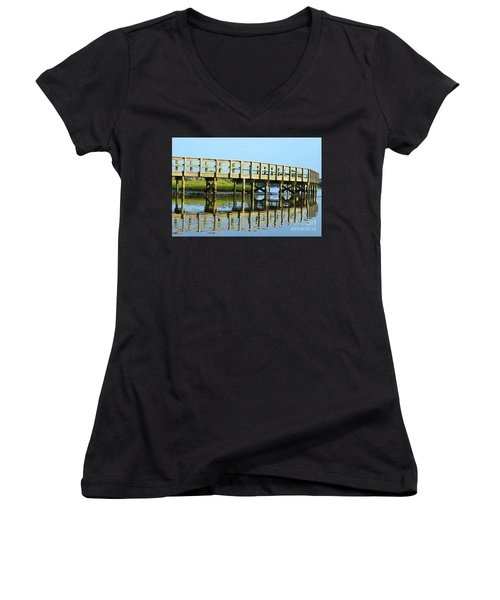 Topsail Island Walk Women's V-Neck T-Shirt (Junior Cut)