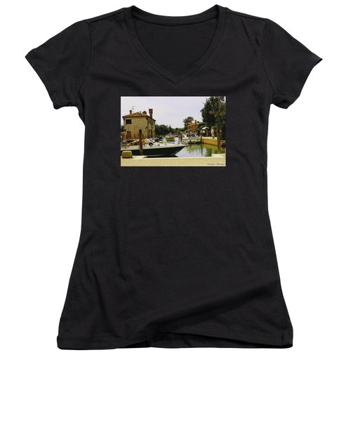 Women's V-Neck T-Shirt (Junior Cut) featuring the photograph Torcello Island by Cendrine Marrouat