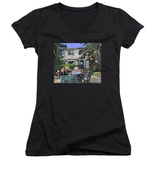Toronto Island Restaurant Women's V-Neck T-Shirt (Junior Cut) by Ian  MacDonald