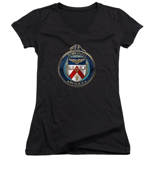 Women's V-Neck T-Shirt (Junior Cut) featuring the digital art Toronto Police Service  -  T P S  Emblem Over Black Velvet by Serge Averbukh