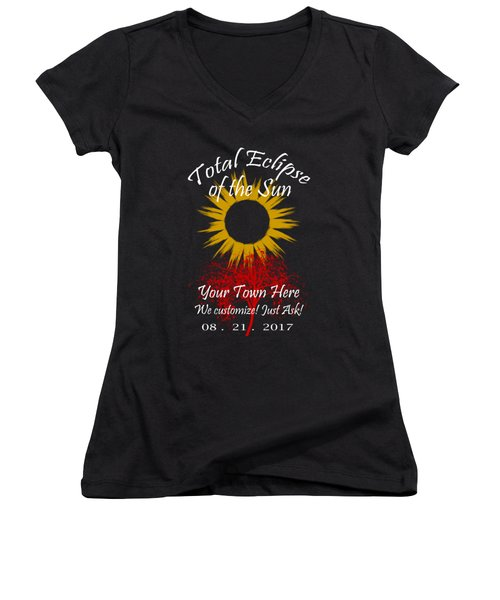 Total Eclipse Art For T Shirts Sun And Tree On Black Women's V-Neck (Athletic Fit)