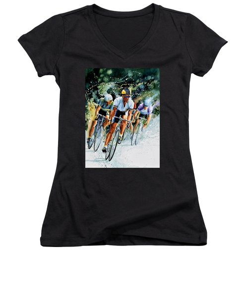 Women's V-Neck (Athletic Fit) featuring the painting Tour De Force by Hanne Lore Koehler