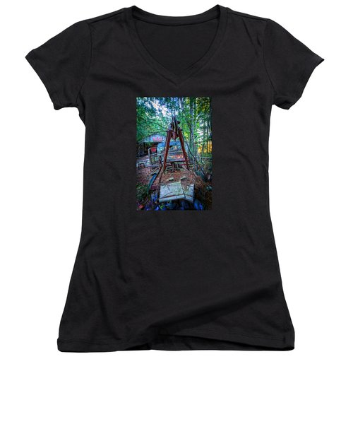 Women's V-Neck T-Shirt (Junior Cut) featuring the photograph Tow No More by Alan Raasch