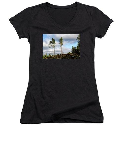 Towards The Sky Women's V-Neck T-Shirt (Junior Cut) by Kennerth and Birgitta Kullman