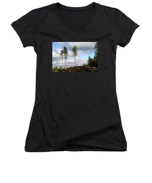 Towards The Sky Women's V-Neck (Athletic Fit)