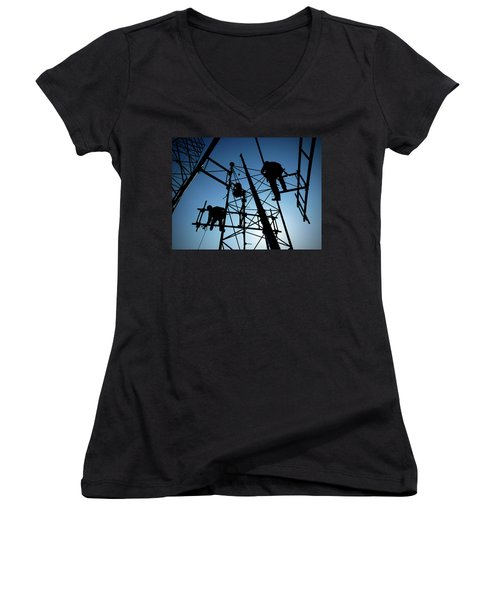 Women's V-Neck T-Shirt (Junior Cut) featuring the photograph Tower Tech by Robert Geary