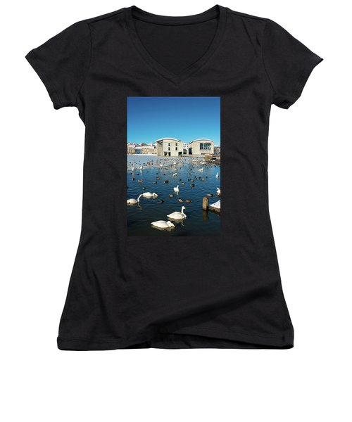 Town Hall And Swans In Reykjavik Iceland Women's V-Neck T-Shirt (Junior Cut) by Matthias Hauser