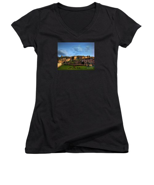 Town Of Assisi, Italy II Women's V-Neck T-Shirt (Junior Cut) by Al Bourassa