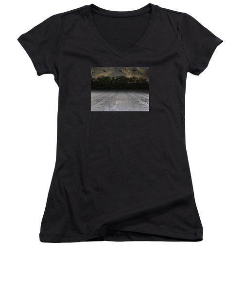 Tracks In The Sky Women's V-Neck (Athletic Fit)