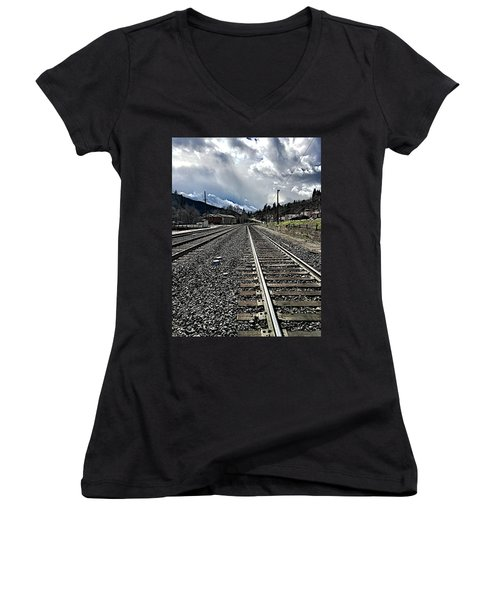 Women's V-Neck T-Shirt (Junior Cut) featuring the photograph Tracks by JoAnn Lense