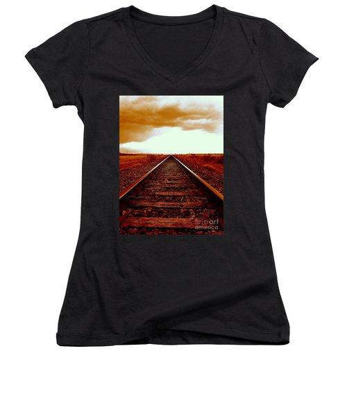 Marfa Texas America Southwest Tracks To California Women's V-Neck T-Shirt (Junior Cut) by Michael Hoard