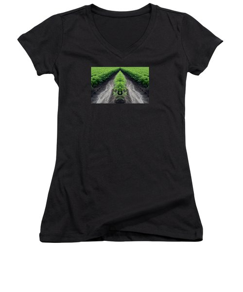 Women's V-Neck T-Shirt (Junior Cut) featuring the photograph Tractor Trail Through The Field 3  by Lyle Crump