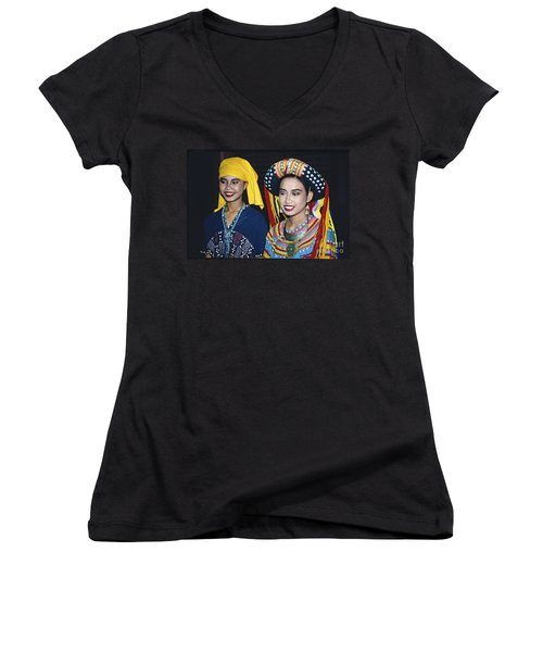 Women's V-Neck T-Shirt (Junior Cut) featuring the photograph Traditional Dressed Thai Ladies by Heiko Koehrer-Wagner