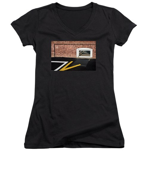 Women's V-Neck T-Shirt featuring the photograph Traffic Line Conversion In Window by Gary Slawsky